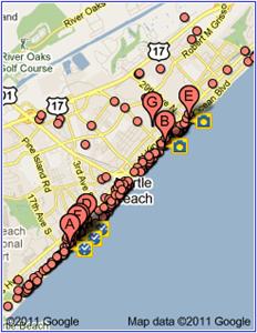 Biker Friendly Myrtle Beach Hotels Map